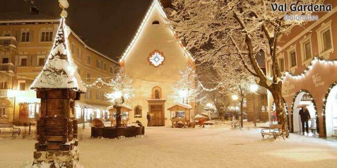 Tanta neve a Ortisei per il capodanno in Val Gardena