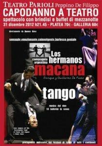 La locandina del capodanno con tango al teatro Parioli