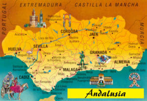 La mappa dell'Andalusia