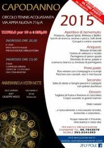 La locandina del capodanno 2015 al circolo Acquasanta di Roma